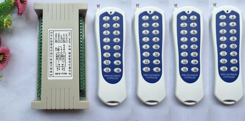 16CH DC 24V rf automation remote control switch 315MHZ 4pcs transmitters & 1pcs recevier wireless switch Radio smart control dc 12v led display digital delay timer control switch module plc automation new
