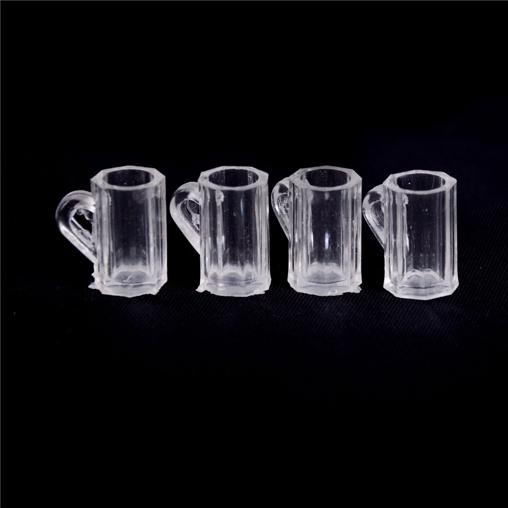 4Pcs/Set Pretend Play Classic Toys 1/12 Dollhouse Miniature Plastic Beer Mugs Cup Classic Toys Gift