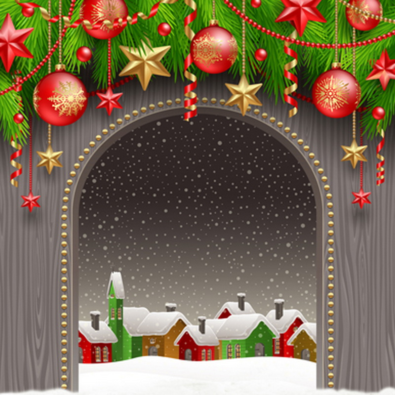 Village Arch Door backdrops High-quality Vinyl cloth Computer printed christmas  photo studio background snowman winter backdrop vinyl cloth high quality computer printed christmas photo studio background