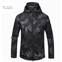 Camouflage clothing fleece thickening tactical clothing hooded jacket shark skin soft shell jacket