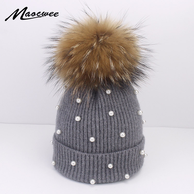 Wool Beanies Women Real Natural Fox Fur Pom Poms Fashion Pearl Knitted Hat Girls Female Beanie Cap Pompom Winter Hats For Women