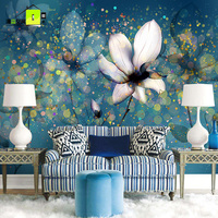 0.53x10m Custom Style Lily Flower Pattern Wallpapers Living Room Bedroom Wedding Room TV Background Wall Blue Nonwovens Mural