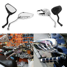 2pcs Motorcycle Mirror Chrome Skeleton Skull Hand Claw Side Rear View Mirrors E-Bike  Rearview  Motorbike Mirrors 8mm 10mm chrome skull hand rearview mirrors for victory hyosung kymco scooter gy6 49 50cc