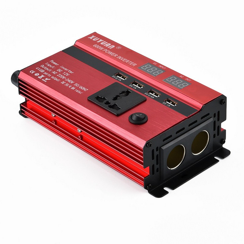 12v DC AC Power Inverter Dual Display Peak Power 600W Inverter Car Charger Adapter Converter Modified Sine Car Power Inverter (4)