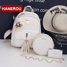 3Set/Pcs New Design Tassel Women Backpack Star Sequins PU Leather Backpacks For Teenage Girls School Bag Chain Shoulder Bag(China)