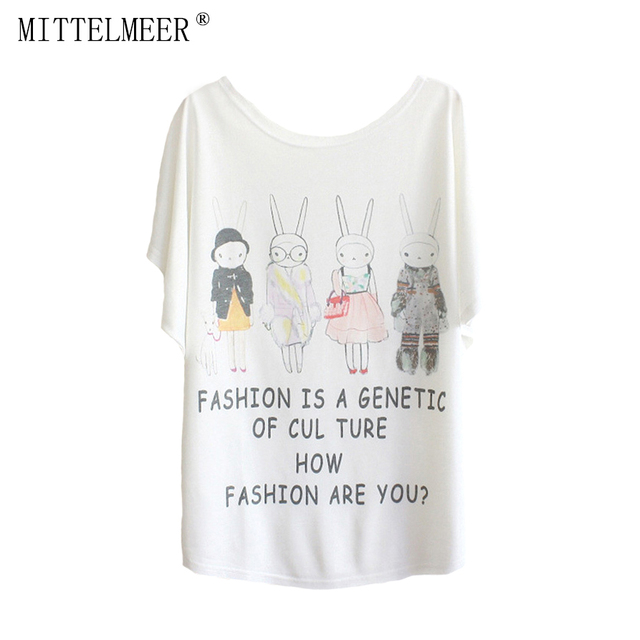 cf08d2140 MITTELMEER New Polyester T-Shirt Women Batwing Sleeve t-shirt o-neck Causal  loose Cartoon bunny shirt Summer tops for women