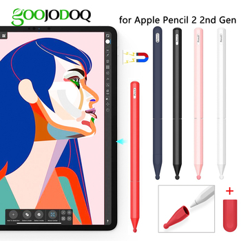 GOOJODOQ 3 IN 1 For Apple Pencil 2 Case 2nd Generation for Apple Pencil 2 Holder Cap Premium Silic for iPad Pen Stylus Touch Pen