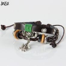 JINSE Harajuku Style Maple Leaf Pendant Leather Bangles Fashion Handmade Braid Wood Bead Bracelet & Bangle jewelry PSL135
