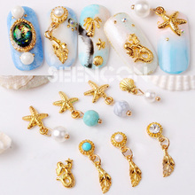10pcs new Alloy 3D Nail Art Stickers shell starfish tassel pendant jewelry Glitter nail gel tools nail DIY Rhinestone Decorate