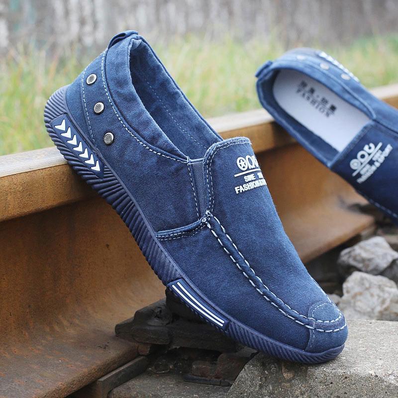 Mode hommes toile chaussures Homme décontracté Denim chaussures hommes Sneakers sans lacet mocassins conduite mocassin Chaussure Homme noir