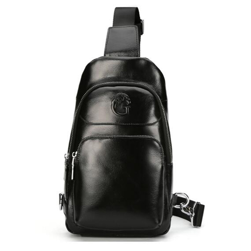 GSQ Hot Genuine Leather Men Shoulder Bag Fashion Trending Oil Wax Leather Mens Crossbody Bag Black Chest Pack Men Bags X778 genuine leather men s bag men s oil wax leather bag a4263