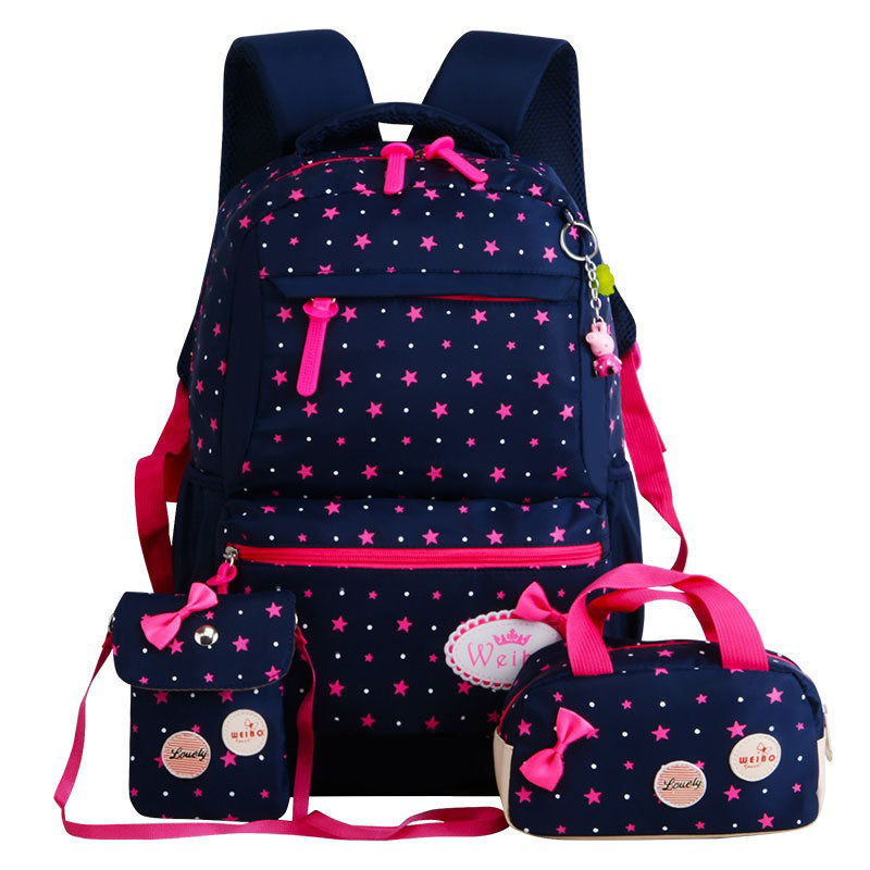 Rucksack Bookbag Primary-Backpacks Schoolbag-Dot Orthopedic Girls Printing For 3pcs/Set