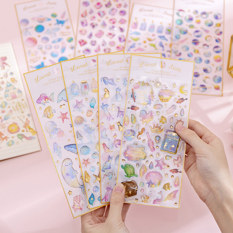 DIY Cute Magic Planet Crystal Epoxy Stickers Transparent 3D Diary Decoration Stickers