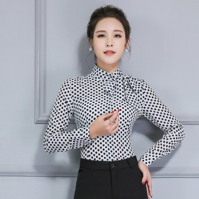 Women's Long Sleeve Shirt Polka Dot Tie Bow Neck Button End Slim Fit Office Chiffon Blouse Spring Autumn Work Wear Tops