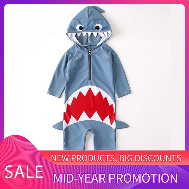 Baby Swimwear Boys Girls Hooded Swimwear Shark Swimming Suit Infant Toddler Swimwear Kids Surfer Baby Girl Clothing