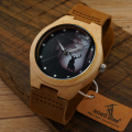 Christmas Gift Season Forest Stylish Design Wooden Watch with Abstract marks Leather Strap Bamboo Wood Quartz Wrist Watch