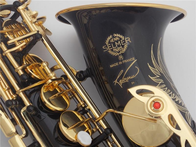 Alto Saxophone 2017 New High Quality DHL free Sax Selmer 54 Alto Saxophone Musical instrumentsProfessional black Gold Key E-flat alto saxophone selmer 54 brass silver gold key e flat musical instruments saxophone with cleaning brush cloth gloves cork strap