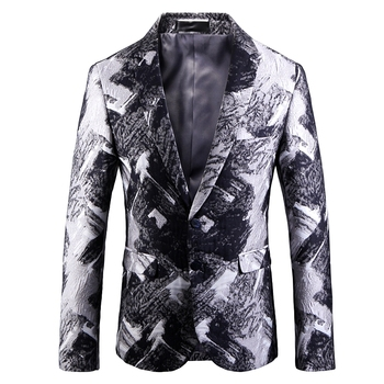 Autumn and Winter New Cotton Men Long Sleeve Printed Suit Jackets Fashion Business Banquet Party Men's Dress Coats