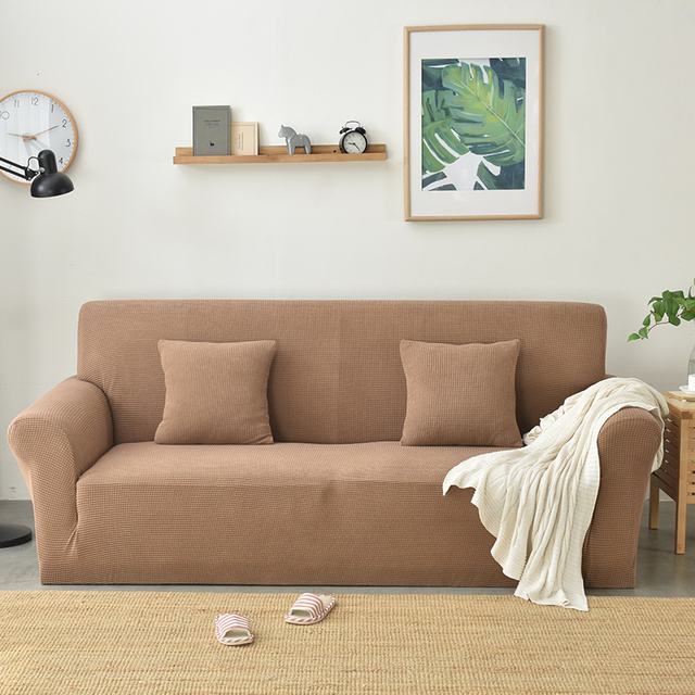 Japanese Style Brief Solid Stretch Elastic Chair Loveseat L Shape Sectional  Sofa Cover Slip Cover Polyester