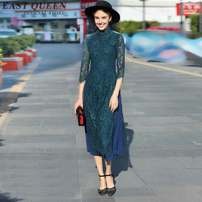 Cheongsam Chinese Style Slim Spliy Lace Modern Qipao Dress Vintage Oriental Style Dresses Chinese Traditional Dress AA2327 YQ