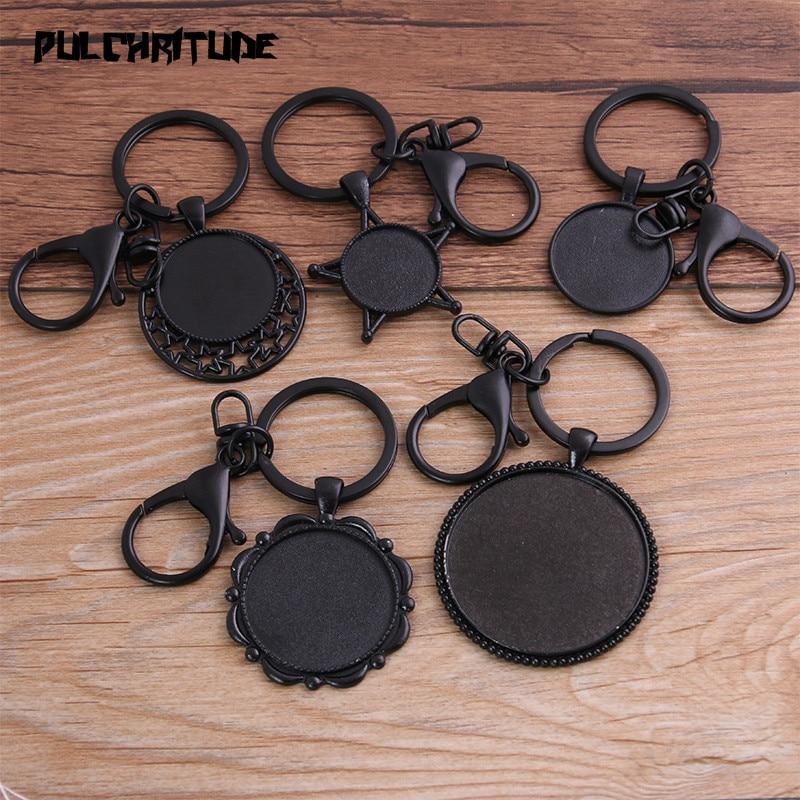 PULCHRITUDE 1pcs 20-40mm Round Black Cabochon Settings Metal Keyring Accessories Diy Blank Zinc Alloy Base Trays For Key Chain