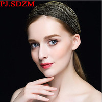 PJ.SDZM Wide Gold Hoop Headbands Fashion All Match Fabric Hairbands Woman Hair Accessory Headwear Birthday Gift Wholesale