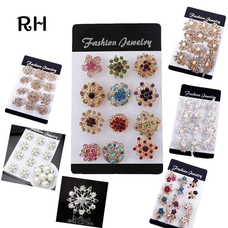 Mix Estilo Flor Broche pinos para mulheres da jóia do casamento 12 peças/lote Colorido pérola ou strass broches presente da festa de mujer