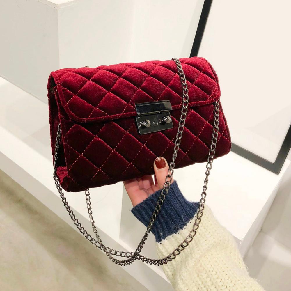 7f6c11831935 Винтажная бархатная сумка через плечо женская вечерняя сумка клатч Tote  Contracted сумка с длинным ремешком Мини повседневные сумки кошельки купить  на ...