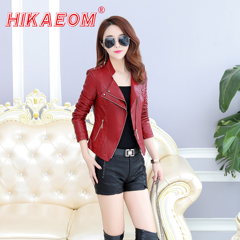 Women Ladies Short   Leather   Jacket Coats Zippers Up Biker Moto Casual Layers Pockets Top Stand Up Collar Coat Outwear New Arrival