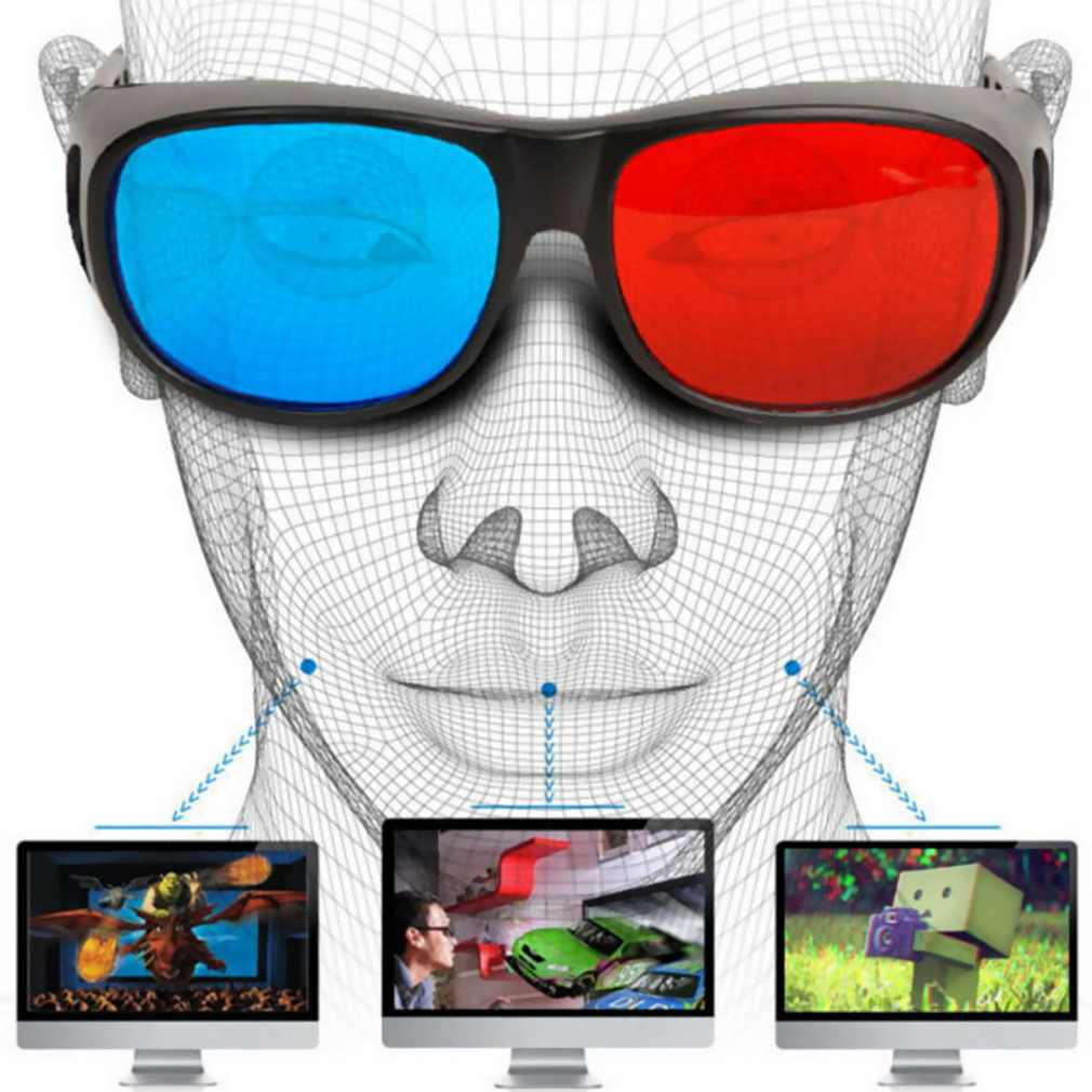 Tipe Universal 3D Kacamata TV Movie Dimensi Anaglyph Frame Video 3D Visi Kacamata DVD Game Kaca Warna Merah dan Biru terbaru