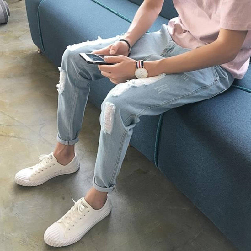 Summer Pants, Men's Version, Nine-point Pants 100-pair Jeans, Small Legs Students' Leisure Pants, Seven-point Pants Broken Holes