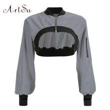 ArtSu Fashion Reflective Jacket Women Long Sleeve Crop Jacke