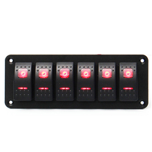 цена на 6 Gang Red LED Light Marine Boat RV Rocker Switch Panel 12V 24V Universal Car Boat Switch Panel Lighter Socket