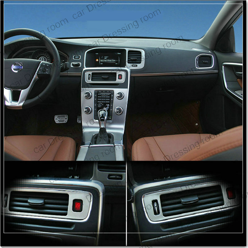 Car styling air conditioning vent decorative cover trim interior stainless steel strip air outlet 3D sticker for Volvo S60 V60 for toyota prado j150 2014 2015 abs interior accessories door handle armrest air vent outlet reading lamp cover trims 17pcs set