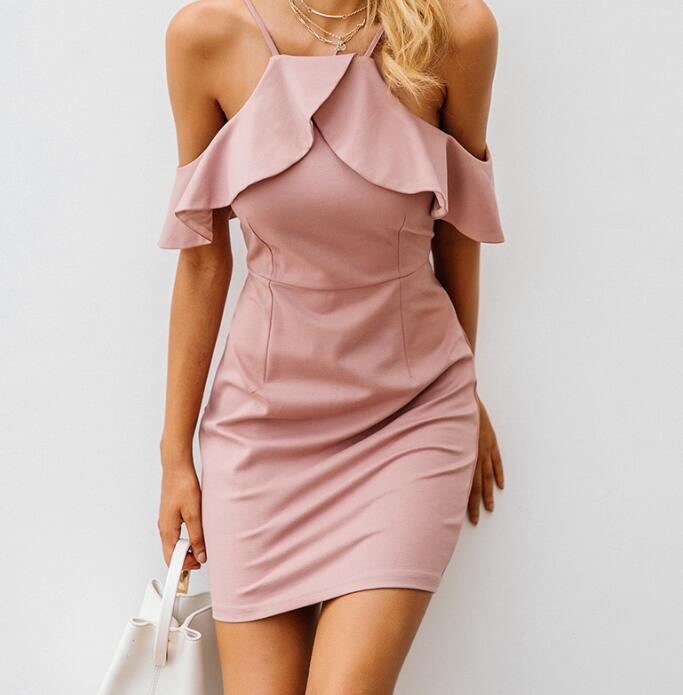 2018 Strap cold shoulder ruffle winter <font><b>dress</b></font> women Sexy backless split bodycon <font><b>dress</b></font> Christmas elegant party <font><b>dresses</b></font> vestidos image