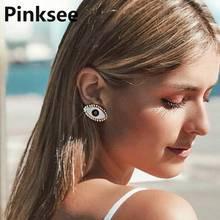 Creative Design Vintage Metal Black Eye Shape Stud Earrings For Women Fashion Personality Oorbellen Femme Trendy Ear Jewelry