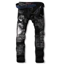Bestickte jeans designer Herren schwarz jeans Patchwork Gerade Hip hop jeans Punk Motorrad Herren biker jeans Berühmte marke