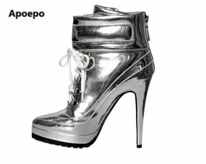 Apoepo Punk style Silver Mirror boots women lace up platform high heels shoes women boots sexy Nightclub singer short boots nika сст 2