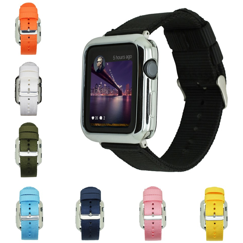 New Woven Nylon Strap Loop Band for Apple Watch Series 3 2 1 42MM 38MM for iWatch watchband Sport Loop wrist band bracelet belt sport loop for apple watch band case 42mm 38mm nylon watch strap bracelet with metal frame protector case cover for iwatch 3 2 1