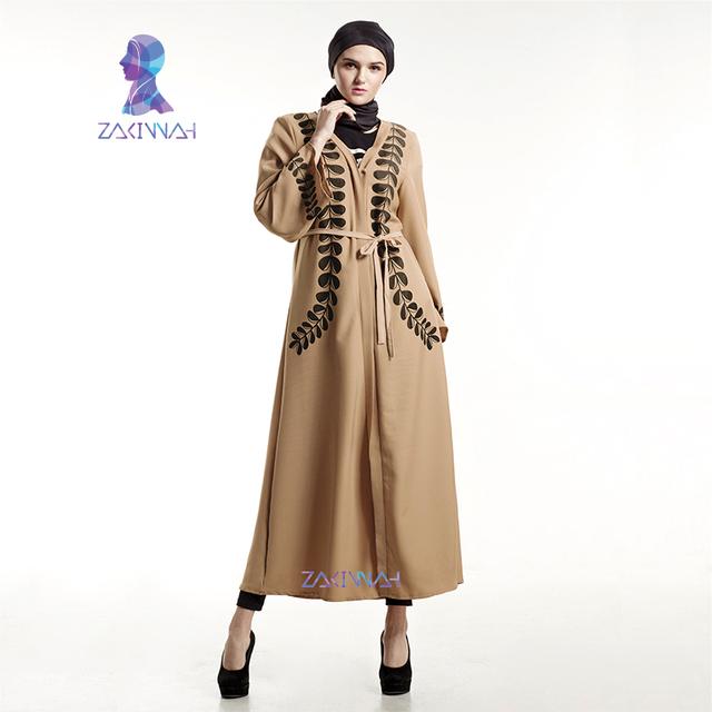Zakiyyah moda mulheres muçulmanas vestido casual cardigan robes árabe kaftan abaya muçulmano abaya turca