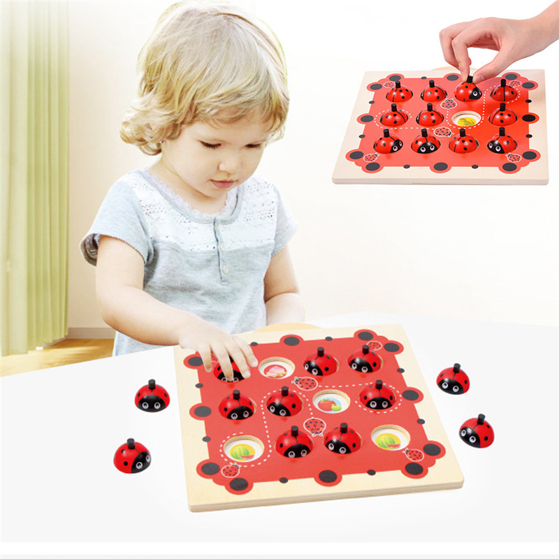 Wooden Checkerboard Memory Training Matching Pair Game Interactive Link UpTraining Game Chess Early Education Toy