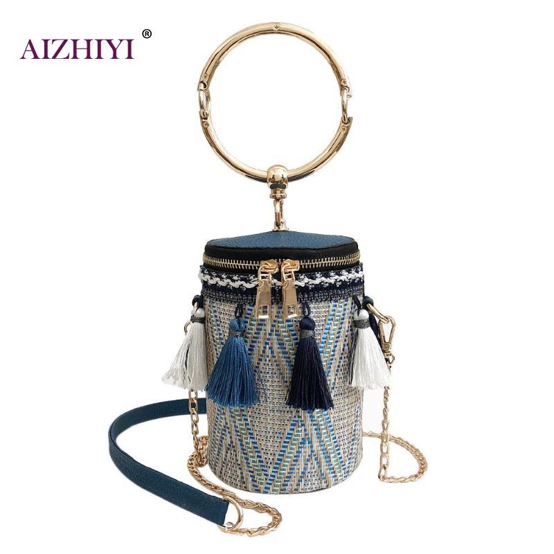 2018 Summer Fashion New Handbag High quality Straw Bag Women Bag Round Tote Bag Hand Metal Ring Tassel Chain Shoulder Travel Bag