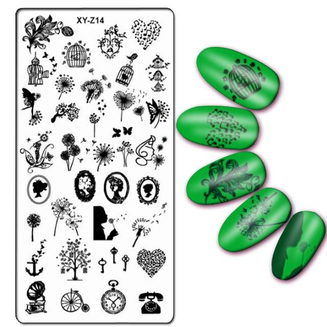 1 unid rectángulo Nail Art Stamping Plate Flor del cordón diseño ...