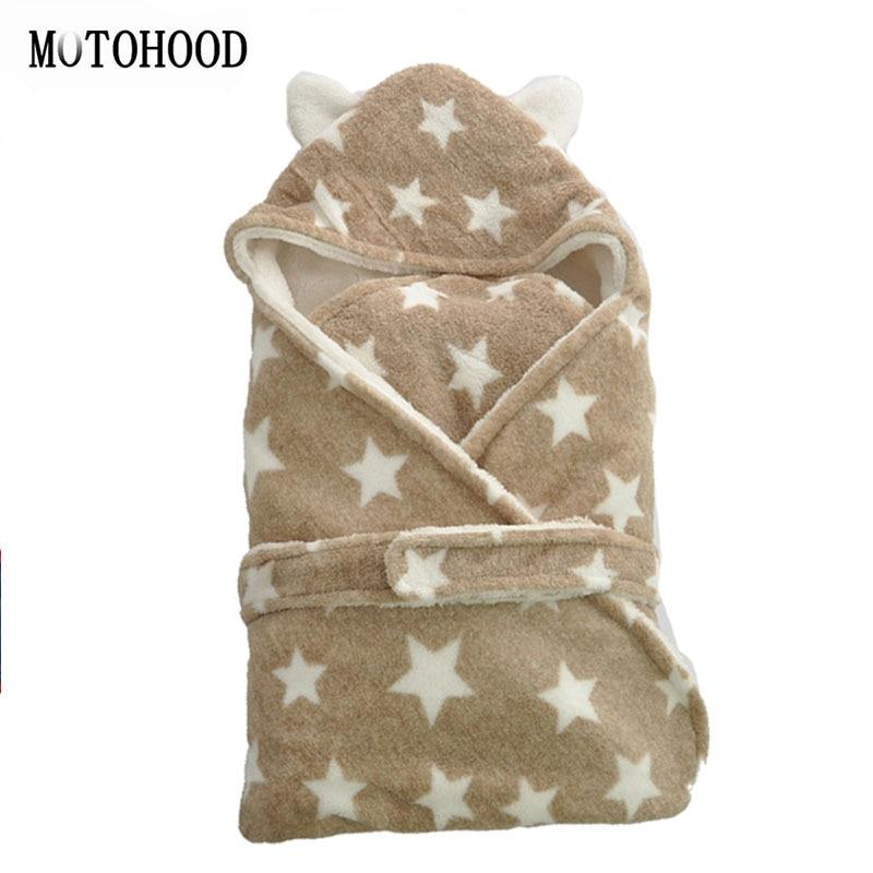 75*75 cm Chunky Croal polaire bébé couvertures nouveau-né literie hiver étoile velours bébé garçons filles infantile Swaddle literie Wrap