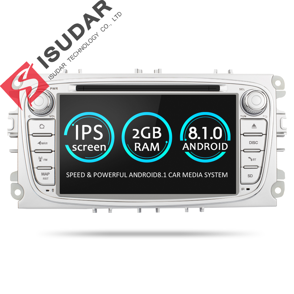 Isudar Car Multimedia Player GPS Android 8.1 2 Din DVD Automotivo For FORD/Focus 2/S-MAX/Mondeo/C-MAX/Galaxy/Fiesta Wifi Radio стиральная машина узкая lg f12u1hbs4