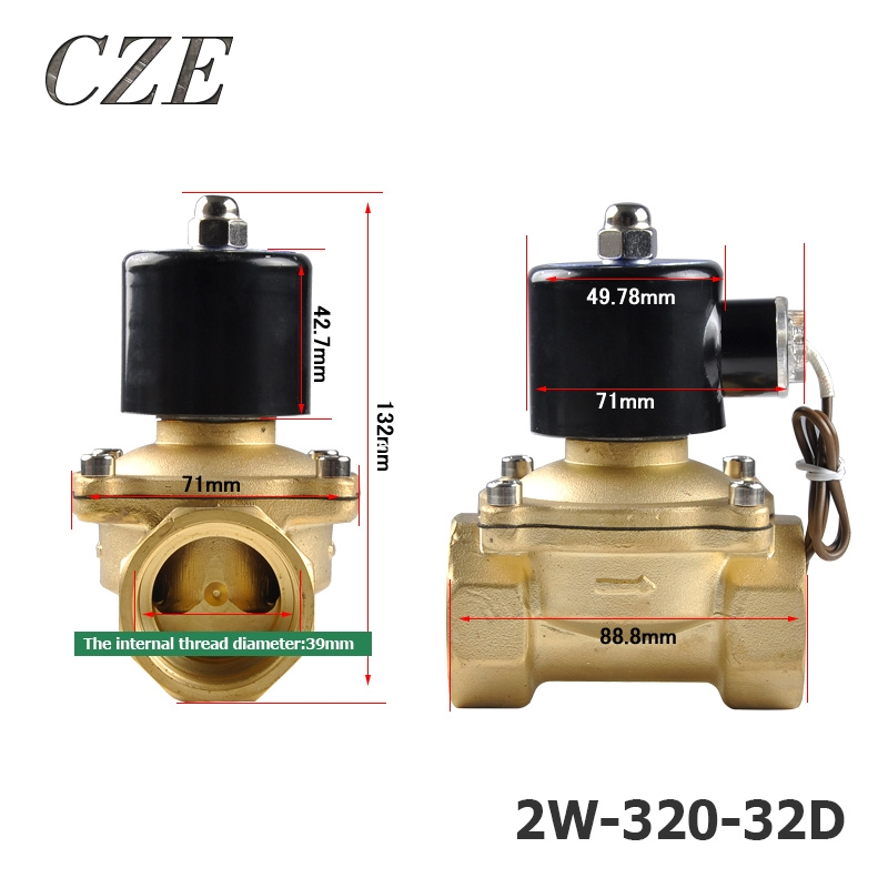 2W-320-32D 1 1/4 Energy Saving Heat-up is Nominal Low Power Copper Water Electromagnetic Solenoid Valves Normal Close AC220V marumi mc close up 1 55mm