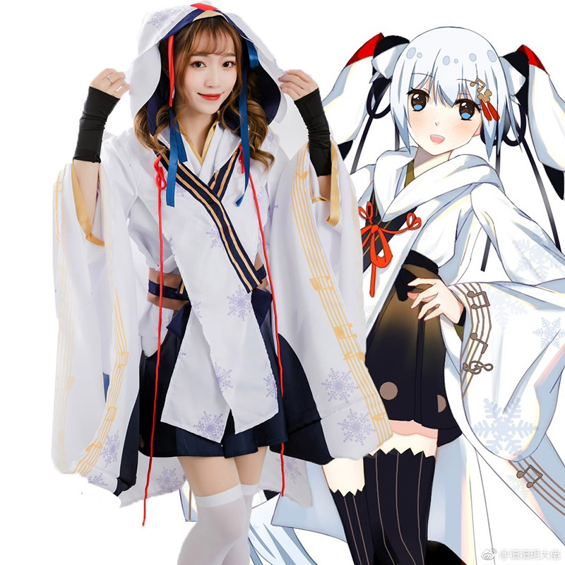 Anime Hatsune Miku Snow Miku Wich Ver Costume Suit for Girls Woman Snow Miku Kimono Halloween Party Costumes Cosplay