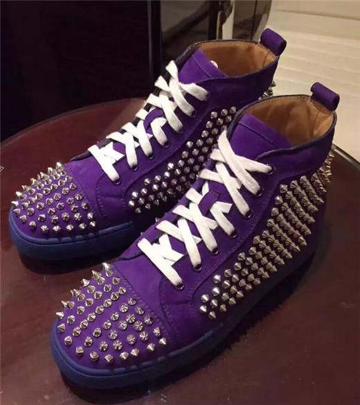 0c7c274cd9 Newest Rivets Men Casual Shoes Lace Up High Top Black Brown Red Black  purple Blue Spike Sneakers Shoes