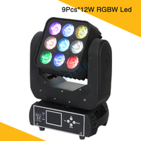 New Moving Head Matrix Beam Led Light 9Pcs*12W RGBW Led Beam Moving Heads Professional Stage Night Club