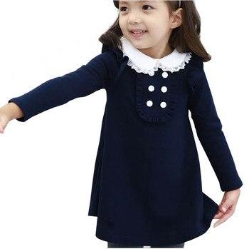 f44fe741c74a 2019 nuevo Otoño Invierno algodón bebé niña ropa coreana muñeca collar  manga larga moda niñas A-line mini vestido cálido niños ropa